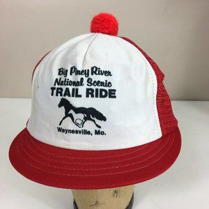 Vintage Bobble Hat Horses Trail Ride 70s Pom Pom